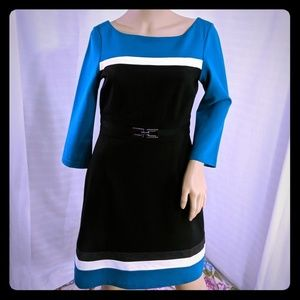 WHBM Dress Scoop Neck Long Sleeve Black Teal 4 S